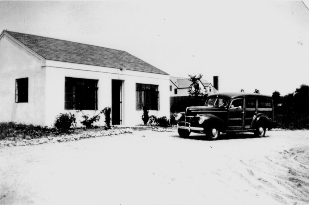 The Kerber's Farm store during the 1940's, with Mr. Kerber's 1941 Ford Super Deluxe Woody Wagon