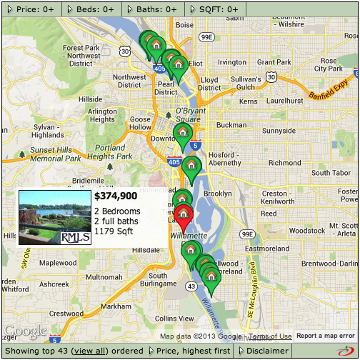 Click map for interactive search.