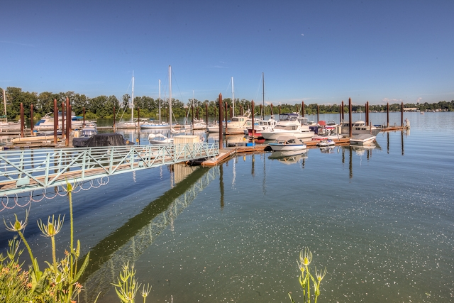 Heron Pointe condos and nearby marina.