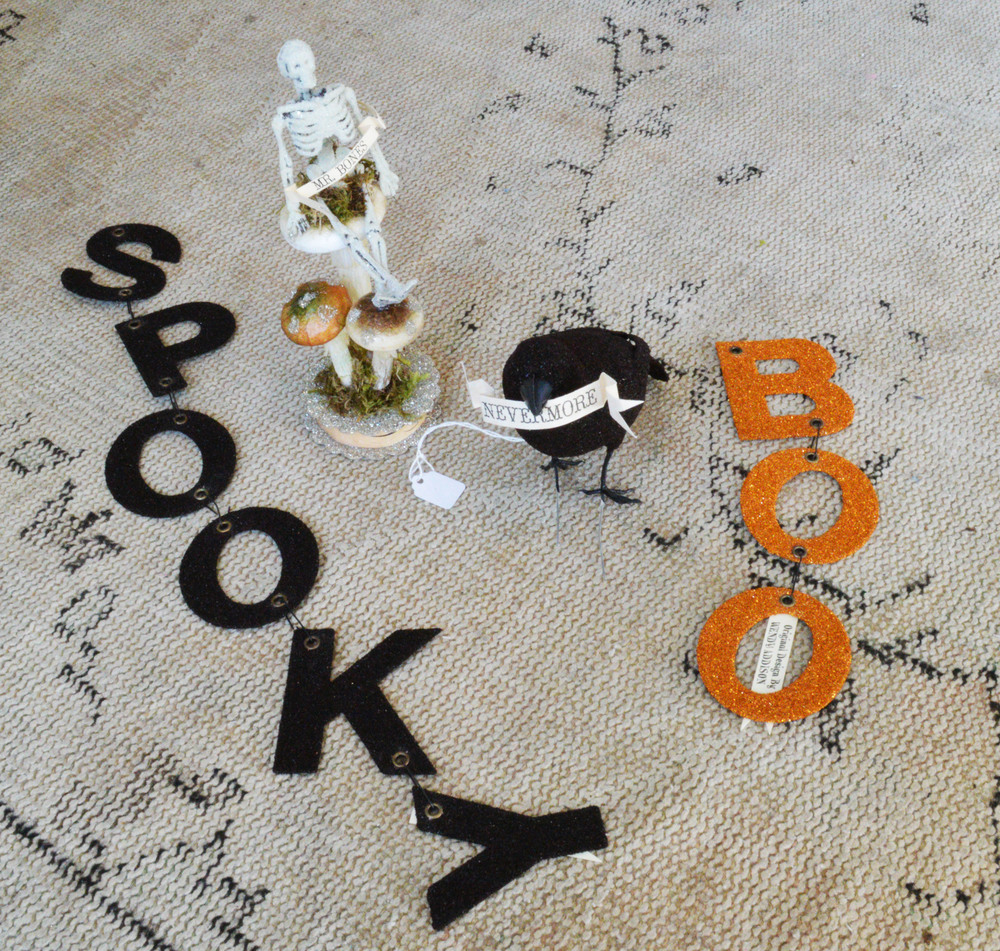 Halloween decorations that are actually cute! Love Mr. Bones and the sparkly Nevermore raven!