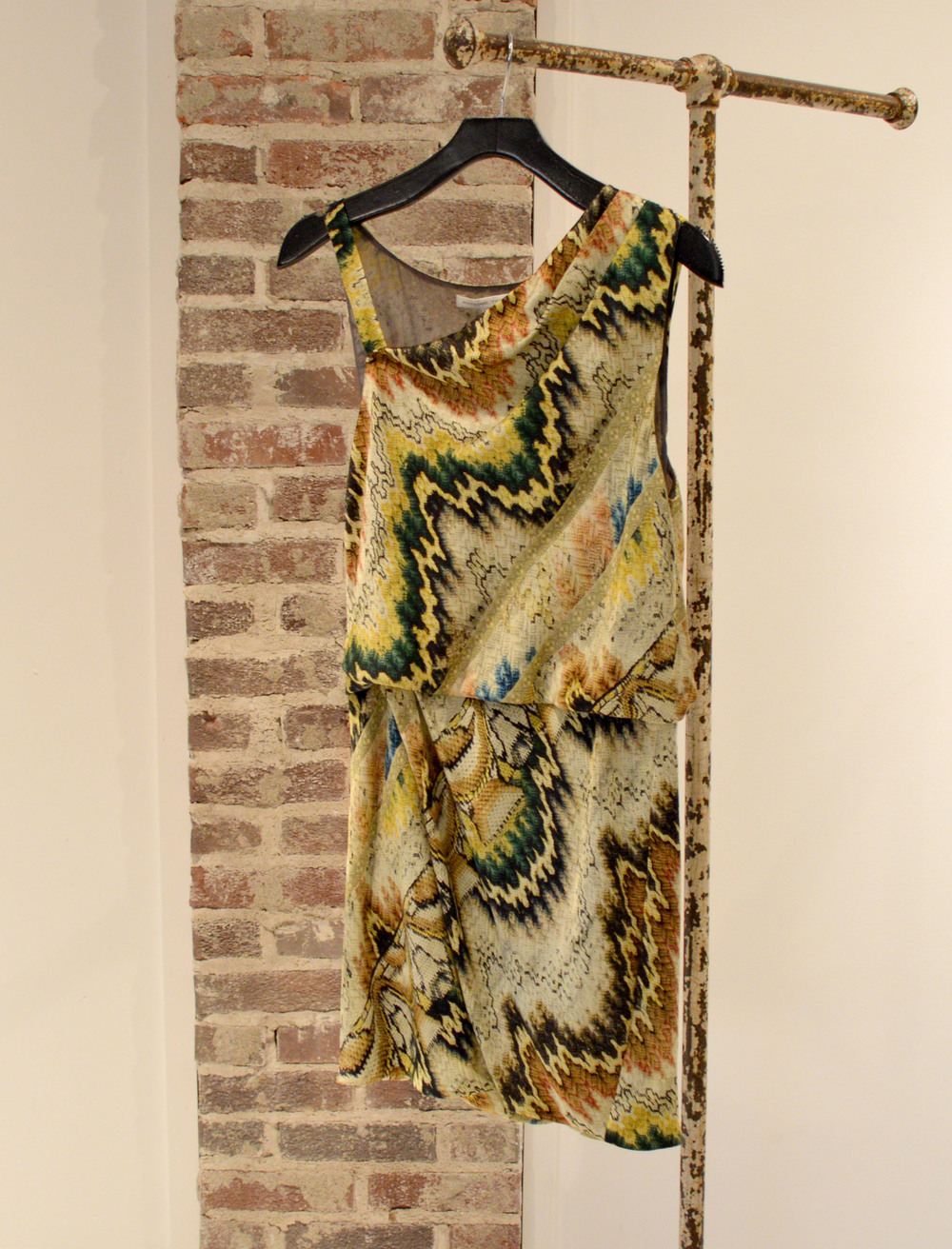 This silk dress with black leather booties is a match made in heaven! $524