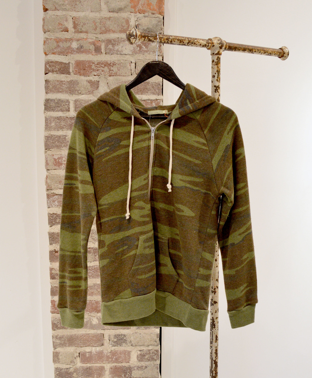 We are loving the camo print right now, we have this same hoodie in a solid, heathered wine color as well!