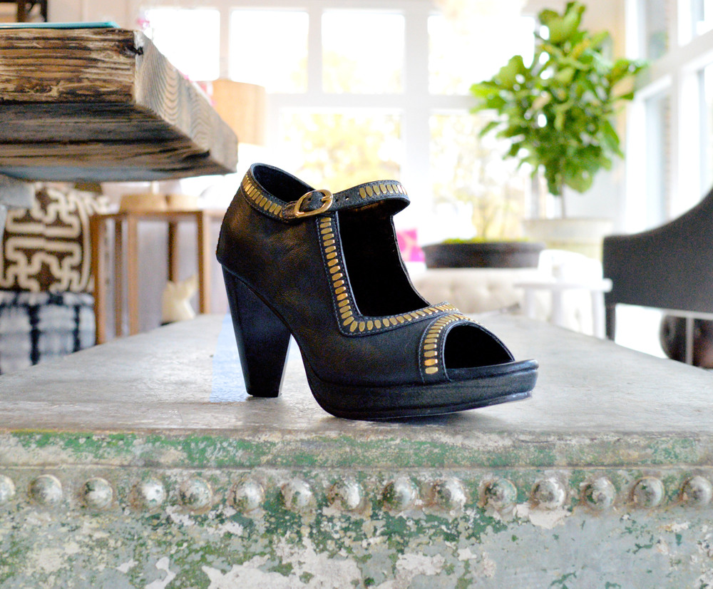 Black leather mary janes with gold studs, be still my heart!