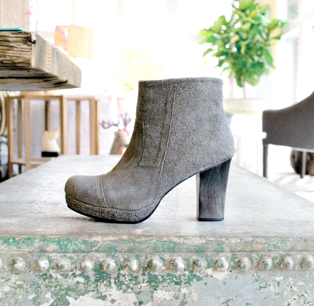 The perfect gray, suede boot, can't resist a wood heel!