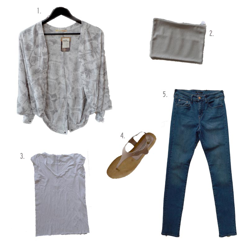 1. Alternative pullover $82 / 2. Tracey Tanner pouch $148 / 3. Humanoid Tee $110 / 4. Humanoid Sandals $178 / 5. It Jeans $115
