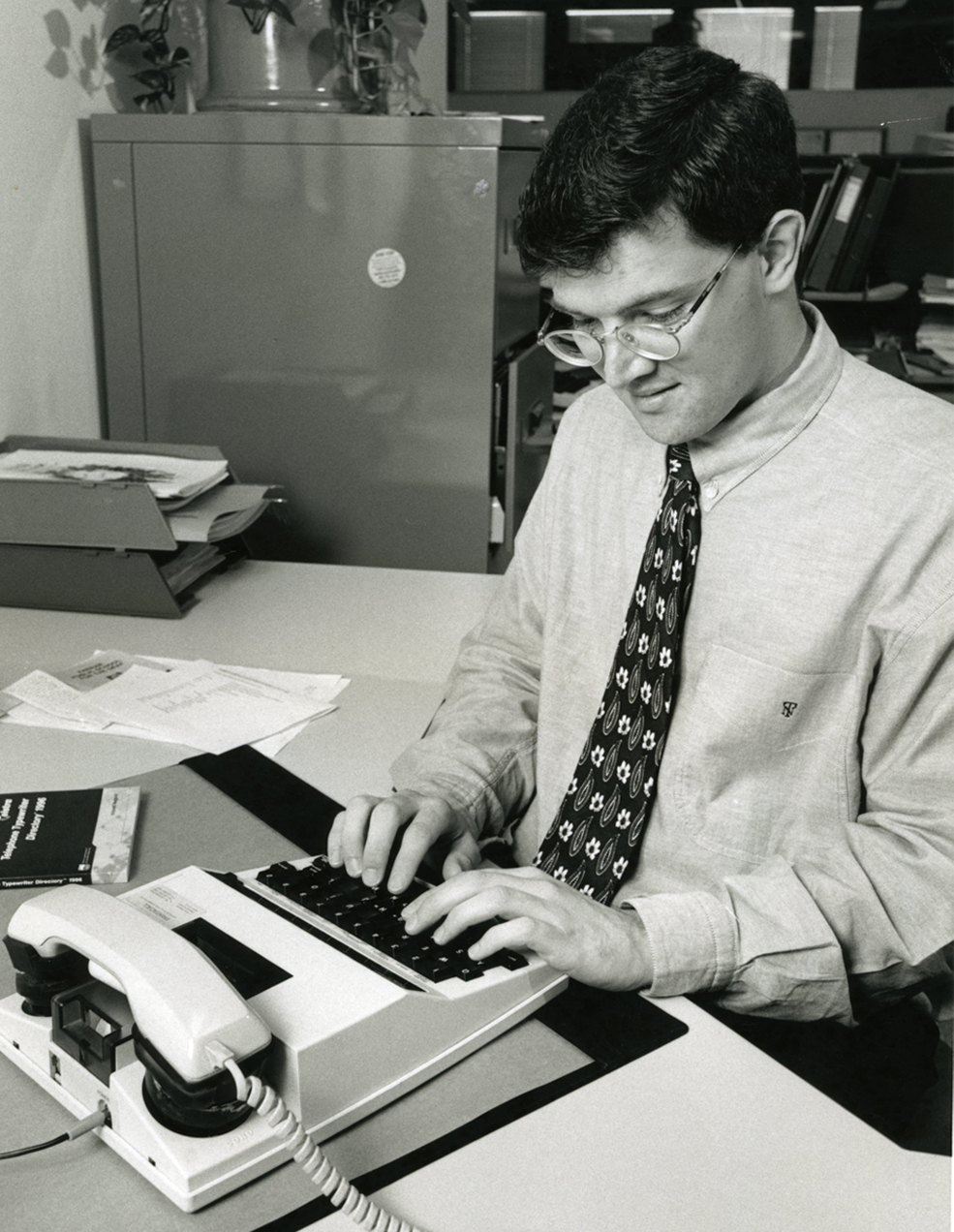 Stephen Nicholson using a TTY, 1990s