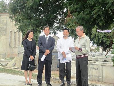 Japanese Ambassador to Cuba, Mr. Hiroshi Sato, and his wife, Mrs. Sato, Mr. Tsutomu Okada (former Consul), and Cuban nikkei Mario Naito. Nov. 11, 2012.