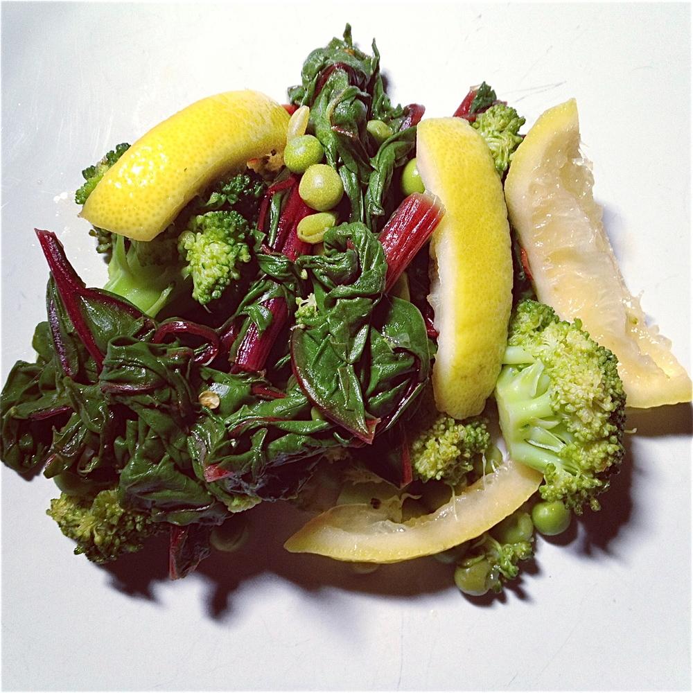 Broccoli w: Peas & Seared Lemons.JPG