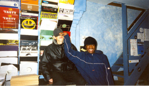 Skream with Benga at Big Apple Records in 2001