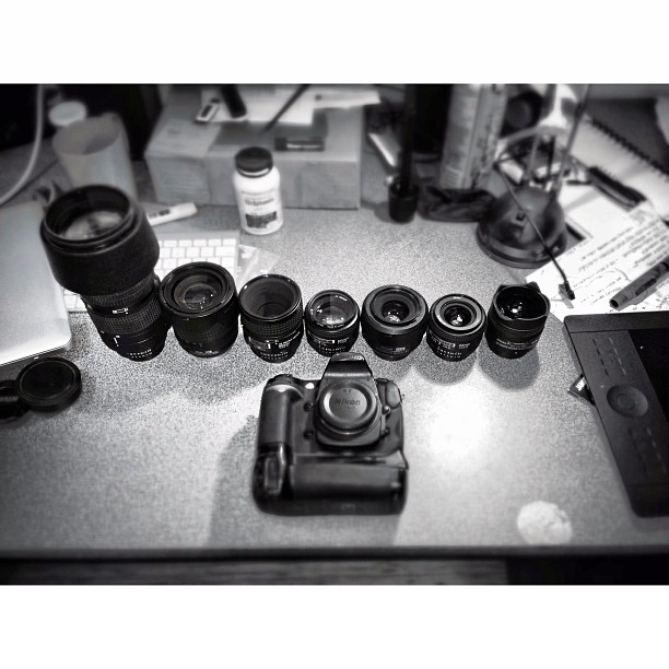Cleaning the line-up. Wedding Reception tn. #nikon #d300 #80-200 #18-135 #60mm #macro #50mm #24mm #10.5 #fisheye #primes #wedding #photography #shoot #jobs #backup