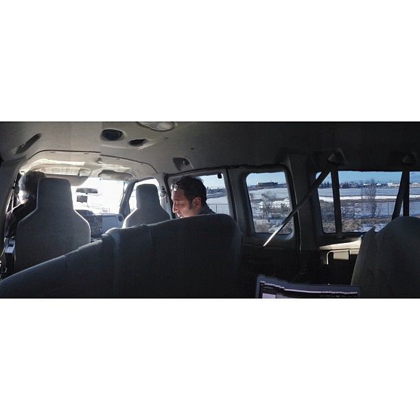 In the tour van on our way to Kitchener for show No.2 #magicalmiserytour #jeremyhotz #panorama #vanlife #eventphotog