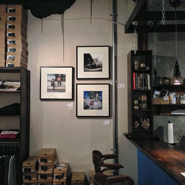 Just hung a few photos over at @antiqueskate check out @bendeezy @seblabomba and @_charliebones on the wall! Photos from Ottawa, Miami, and Albany. #prints #photography #supportlocal #diy #forsale