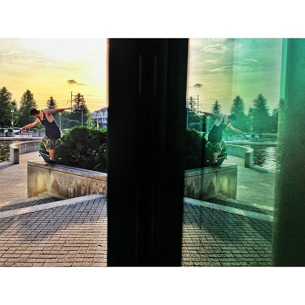 @mystks Back 5-0's at the end of the day. #latergram @cephasbenson @_samlind #iphone #skateboarding #reflection #photography #mystks