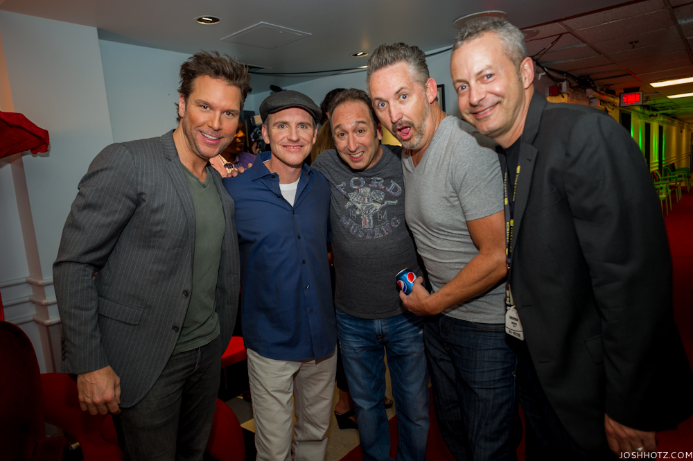 Dane Cook, Greg Fitzimmons, Jeremy Hotz, Harland Williams, and Bruce Hills (JFL COO) Backstage at the Montreal JFL Gala, 2013