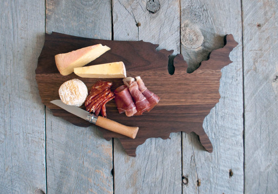 USA shaped cutting board by A HEIRLOOM
