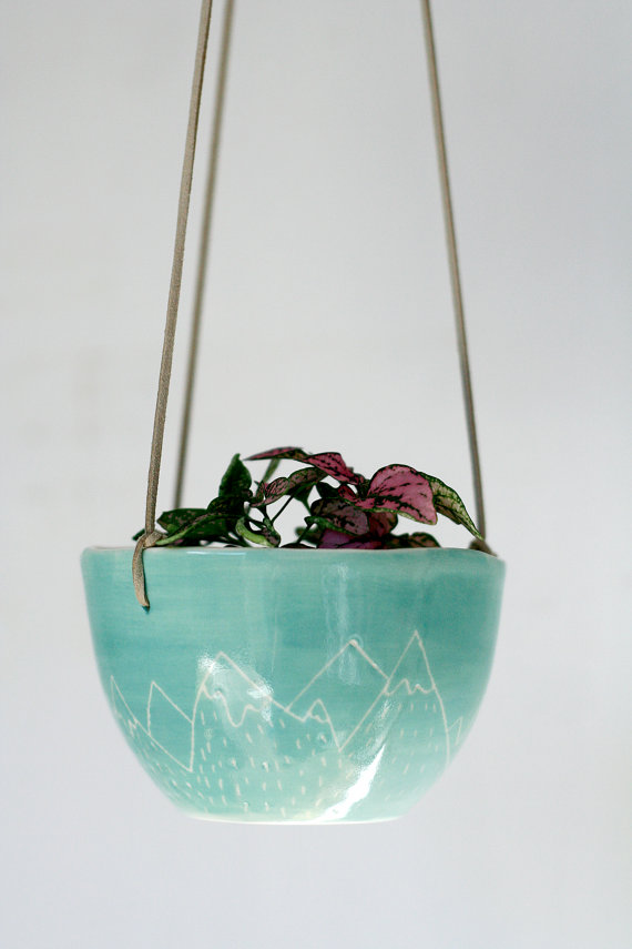 Handmade mountain ceramic planter by Hang With Me
