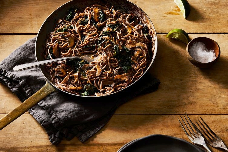Mushrooms and Soba noodles