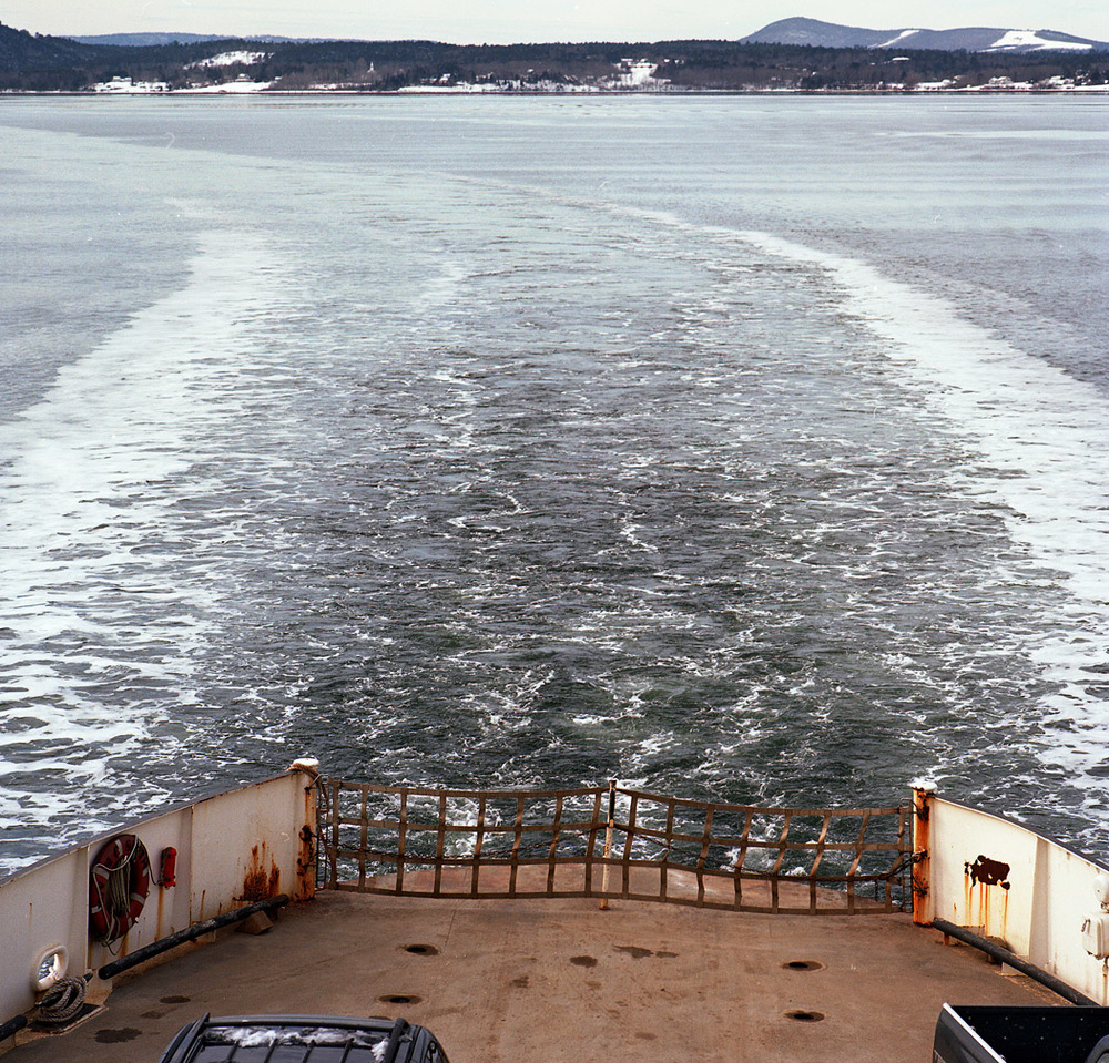 6. Now, the frozen bridge is a deep channel to cross by ferry-boat