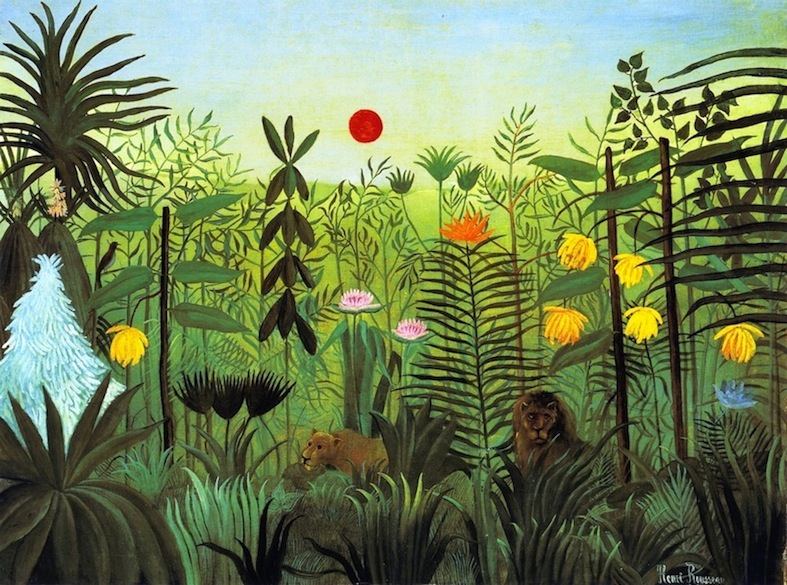 Exotic Landscape with Lion and Lioness in Africa Henri Rousseau - circa 1903-1910