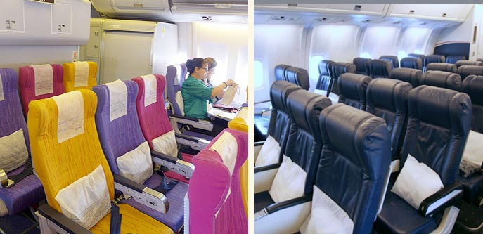 Thai Airways plane interior vs. US Airways plane interior