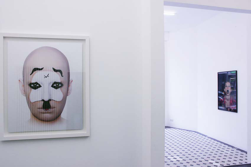 "Installation view, ""Geiles Globales Gesicht # 10"", self portrait, lambda print, 80 cm x 120 cm, framed, Teapot gallery, Cologne Germany 2010."