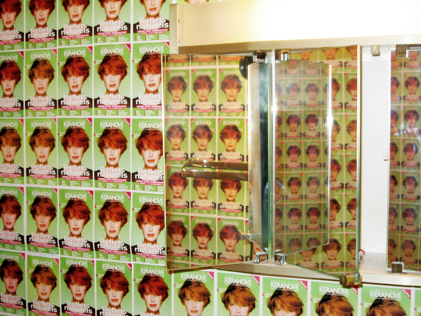 installation view, chambre double, photocopies of hair product box, Hotel Louisianne, Paris, France 2002
