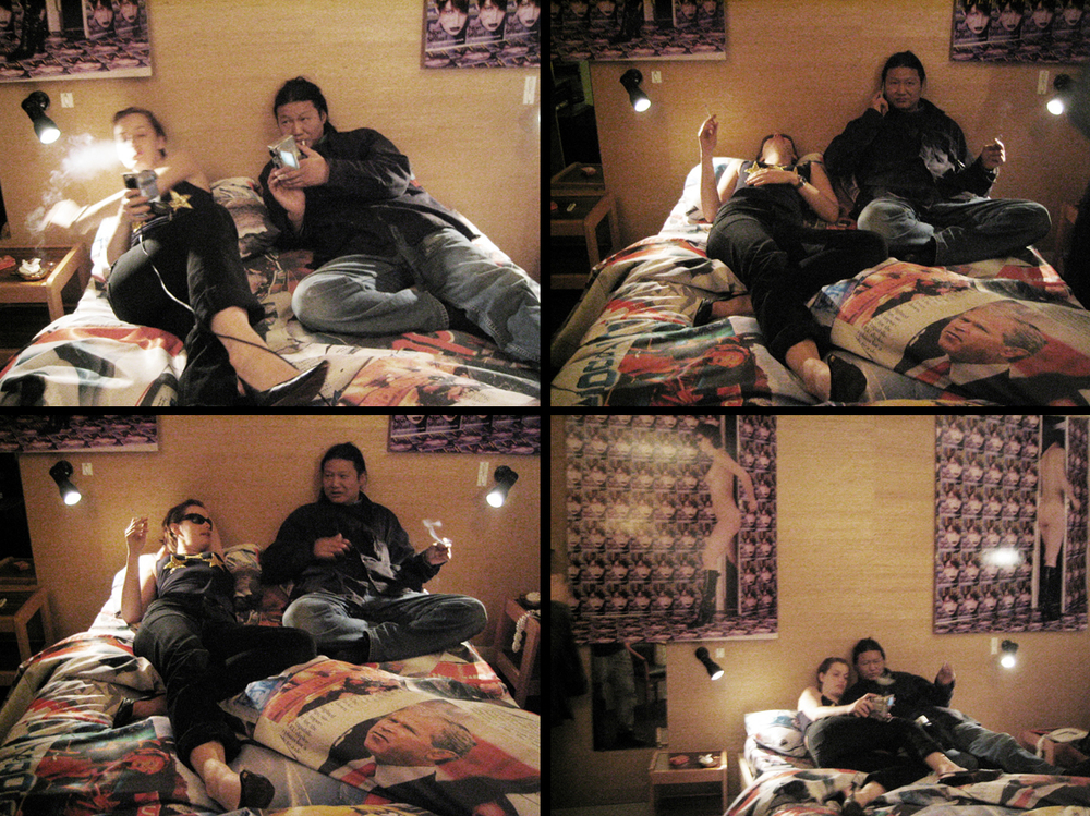 Susanne Junker and Wang Du in bed, performance, chambre double, Hotel Louisianne, Paris, France 2002