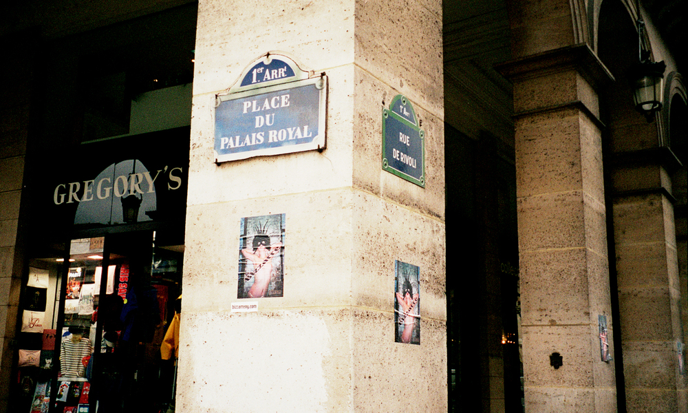 street installation,   give the people what they don't want,   Paris 2000.