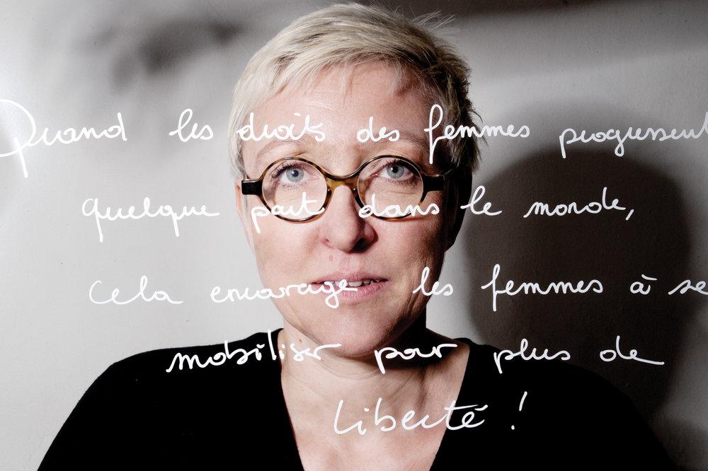 """Sabine Salomon, militante féministe. """"Quand les droits des femmes progressent quelque part dans le monde cela encourage les femmes à se mobiliser pour plus de liberté"""". © PORTRAIT-PAROLE 2017."""
