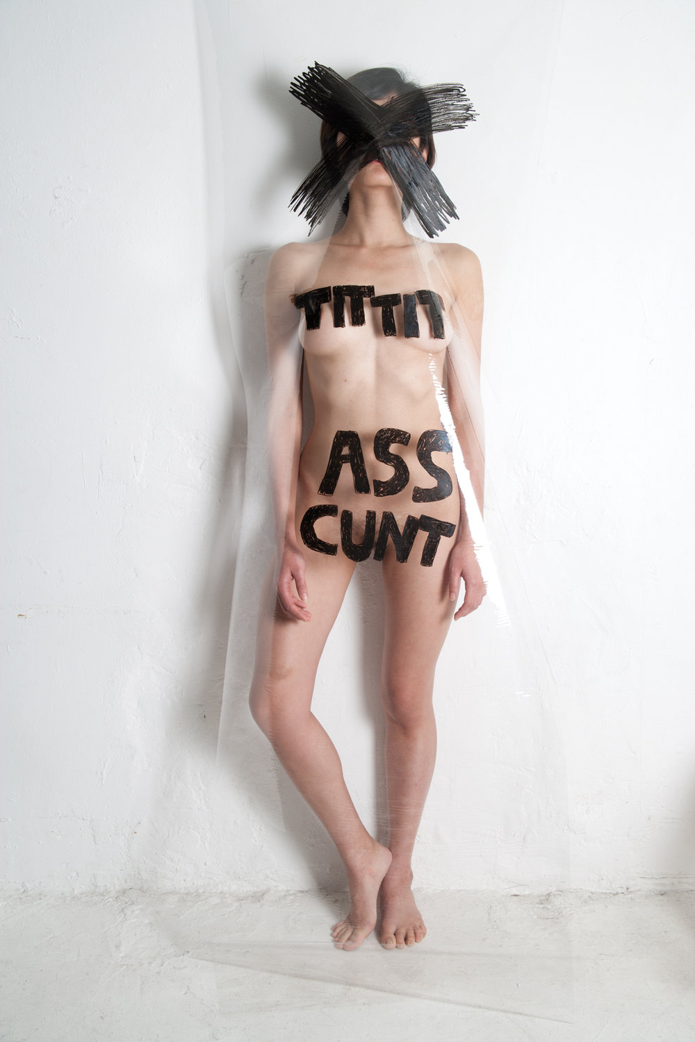 the big nude, cross, tit tit, ass, cunt  , 2016, from the series: connasse, photograph, sizes vary.