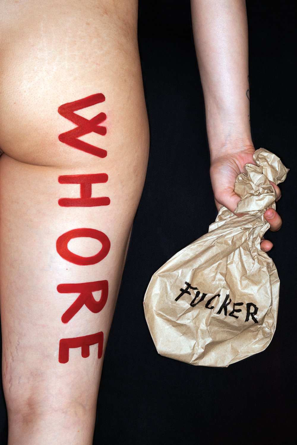 whore, with fucker lunch bag  , 2016, from the series: 21st century woman, photograph, sizes vary.