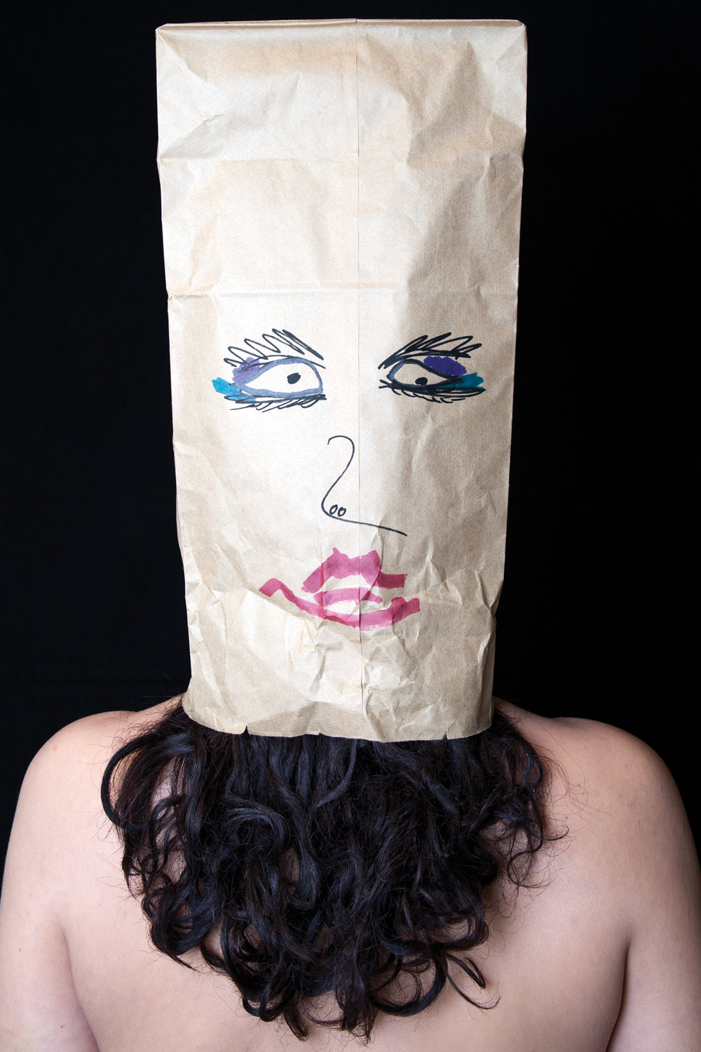 paper bag portrait  , 2016, from the series: 21st century woman, photograph, sizes vary.