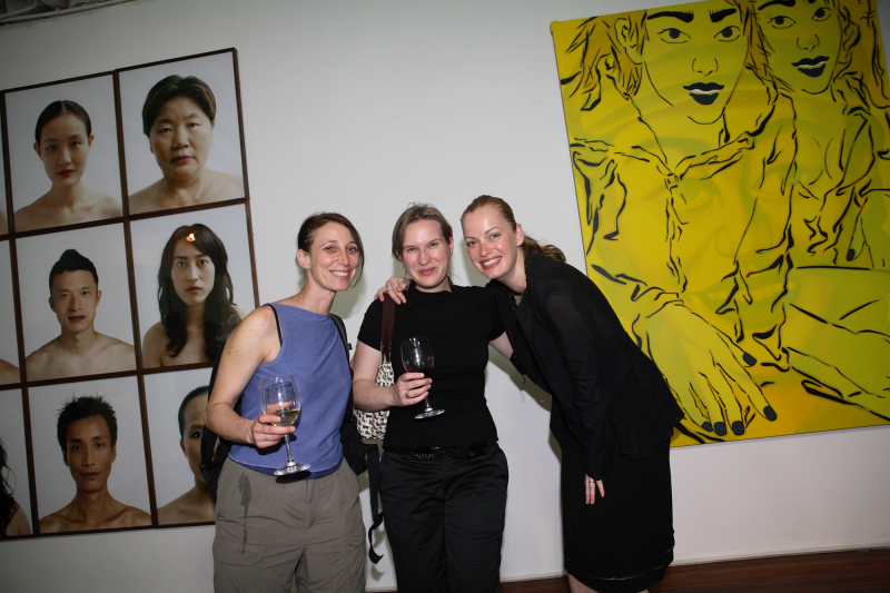 Andrea Neidhoefer (middle), Susanne Junker (right) at the opening of Eurasia One, Island 6, Shanghai, China, 2007.