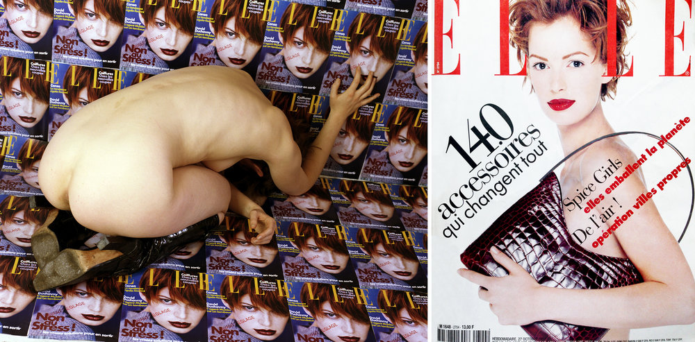 Elle #3, self-portrait, 1999, lambda print, sizes vary / Junker on French Elle cover, publication by Hachette Filipacchi Media, 1997