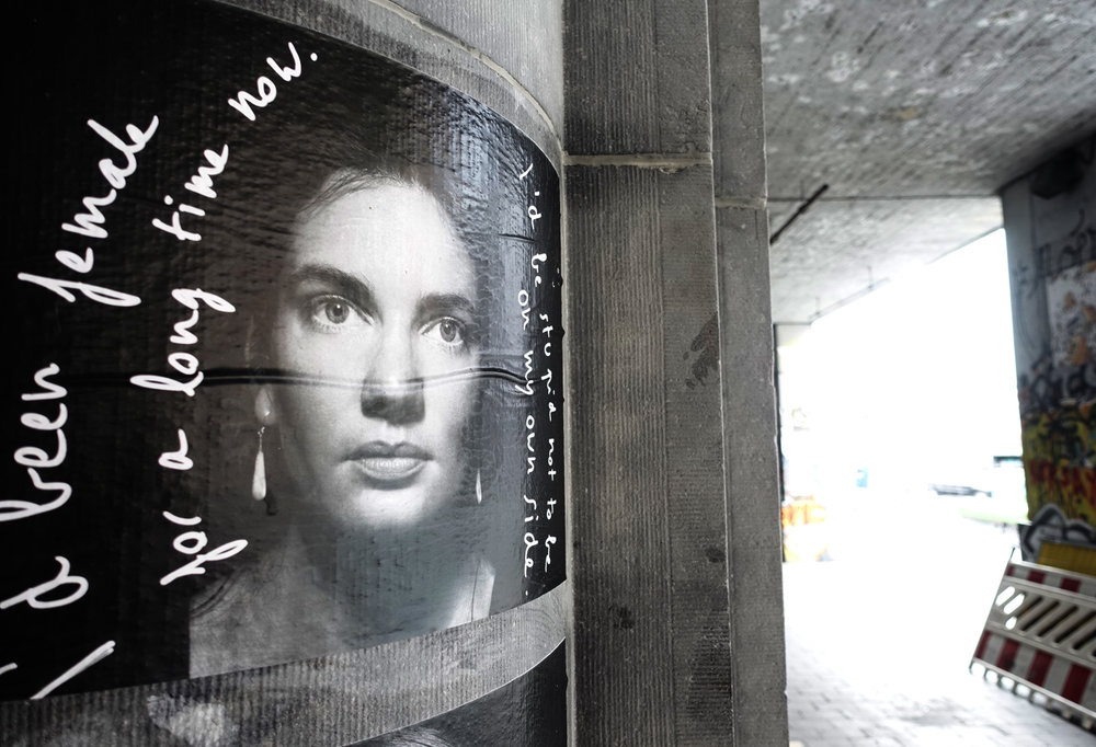 portrait-parole street pasting  at Chapelle subway station in Brussels, Belgium, July 18 2018.