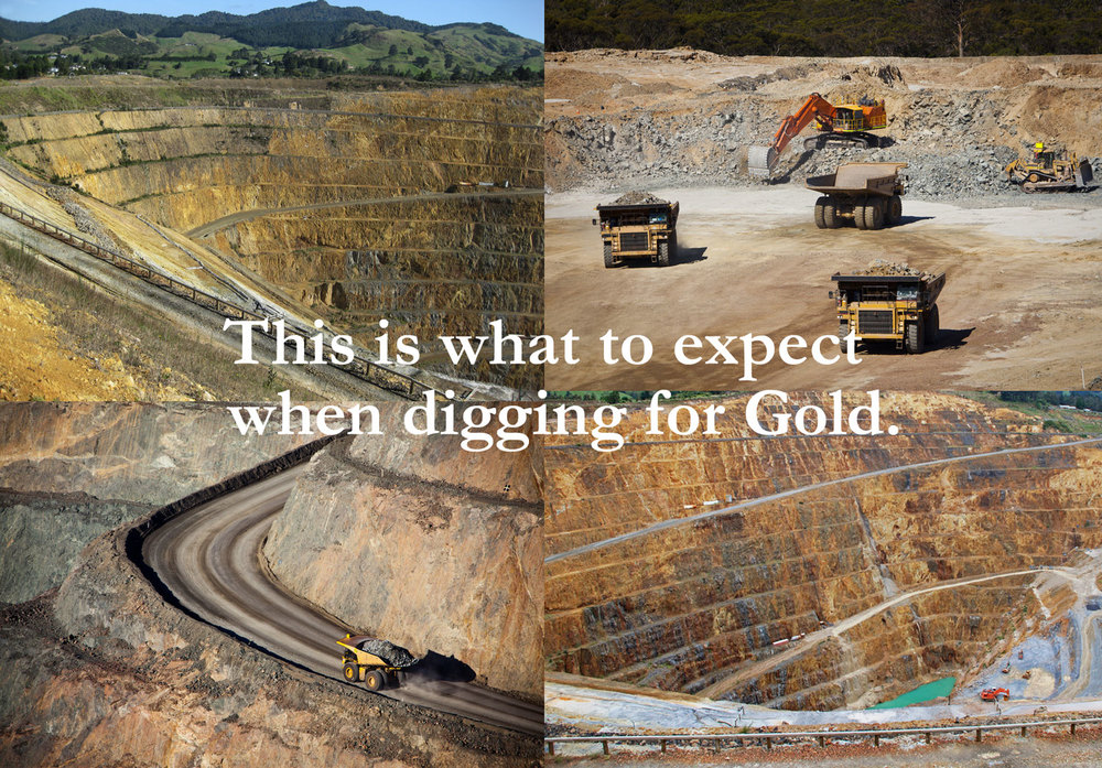"This photo-collage has been created using stock images of gold mining in Kalgoorlie, WA and the ""Martha"" gold mine in New Zealand."