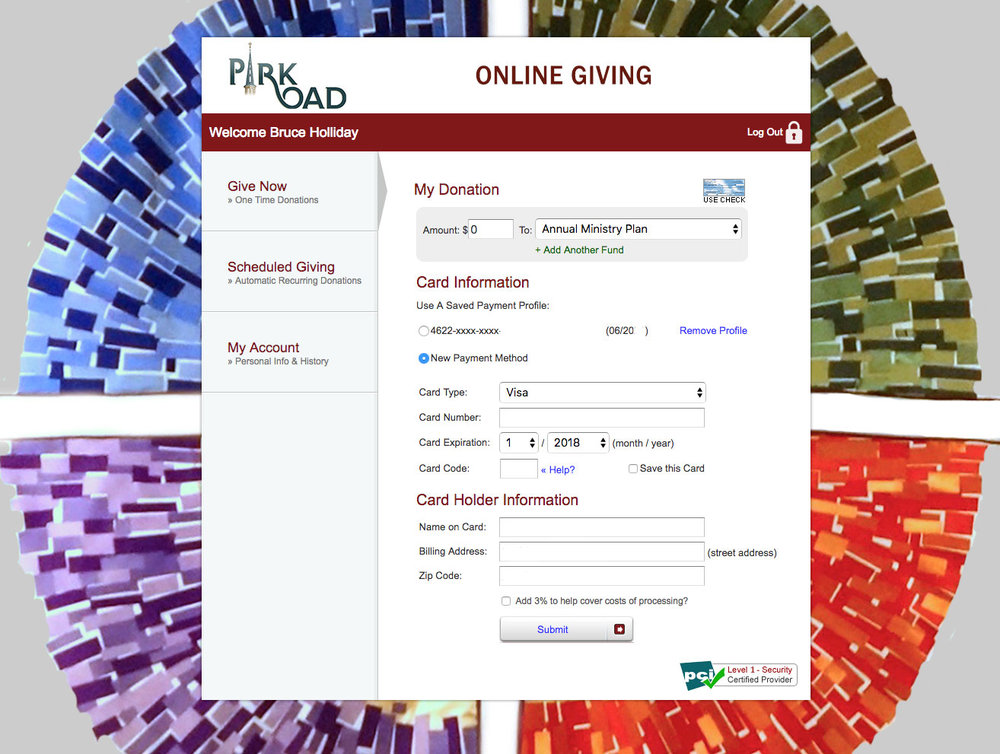 Online Giving Form. Click this image to enlarge view.