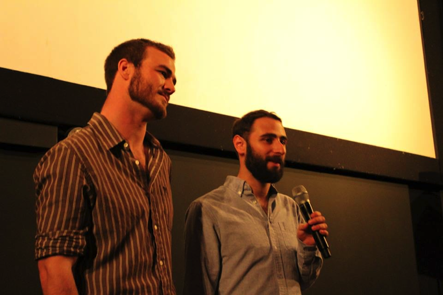 Jesse Swedlund and Ben Prawer answering questions after the intimate private screening at the Logan Theatre in Chicago for friends and family.