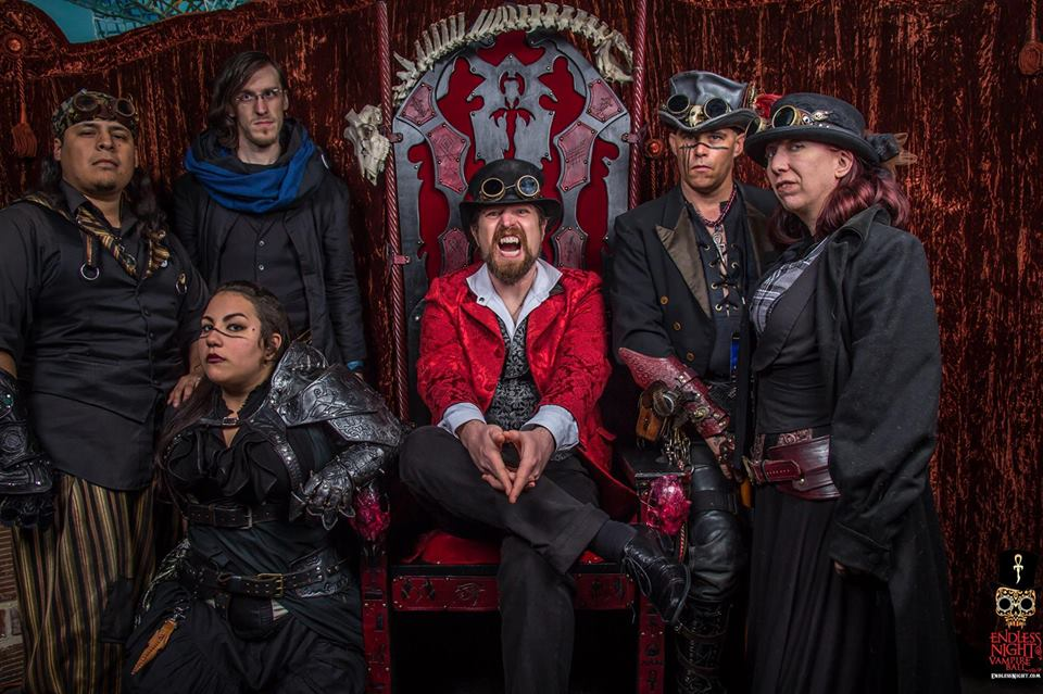 Father Sebastiaan with the crew of the Airship Isabella at the Tampa Vampire Ball 2014.