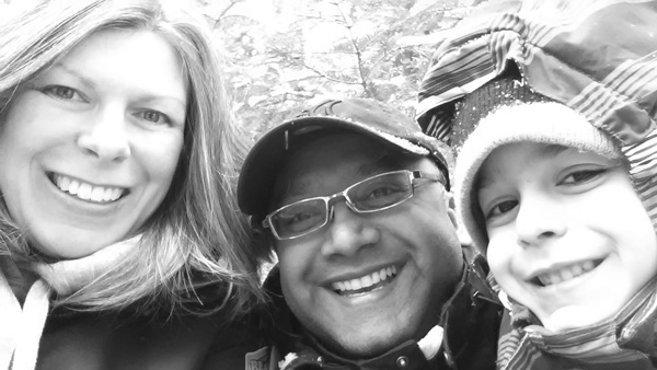 Founder Cindy Persaud enjoying a hike with her husband and son through one of the family's favourite forests.