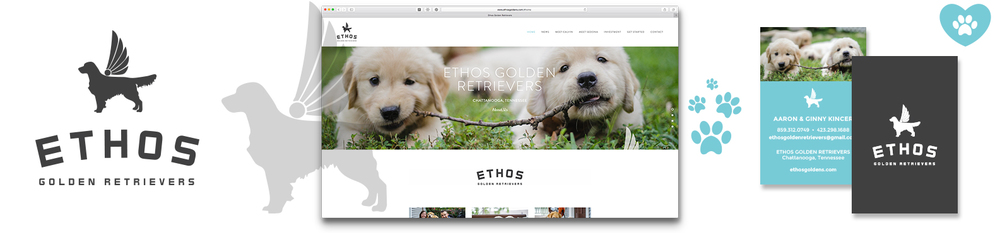 ETHOS Golden Retrievers Logo Brand Identity Photography Website