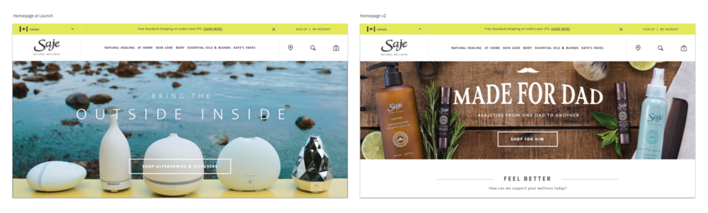 """Left: Homepage at Launch, Right: Homepage version 2  There wasn't a visual signifier that there was more content below the fold. The """"false bottom"""" decreased overall page interactions and heavily increased global navigation & search interactions."""