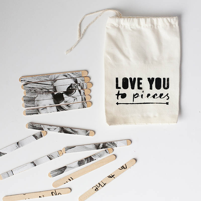 DIY Valentine photo puzzle and storage bag from All for the Memories