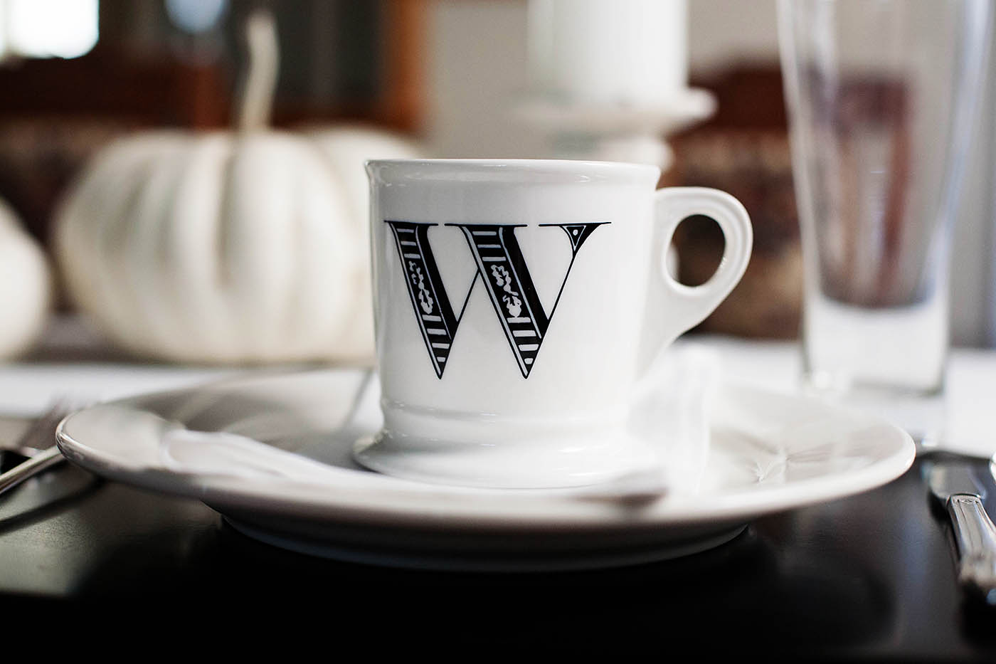 An initial coffee mug makes a great looking place setting and a fun gift!