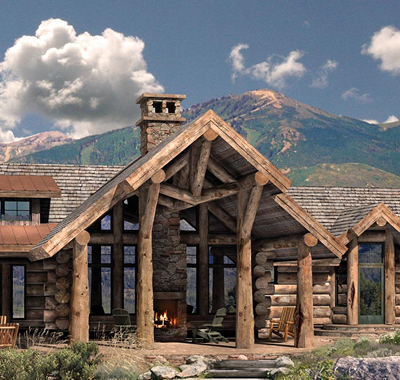 Massive logs and soaring windows define this Western home