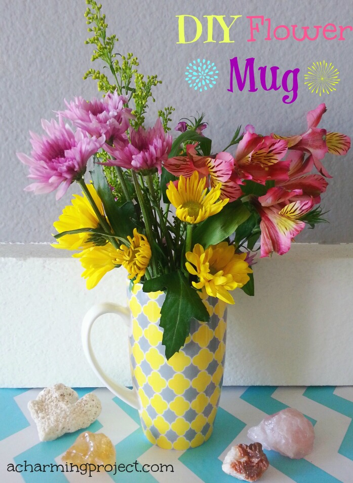 Diy flower mug tutorial via www.acharmingproject.com