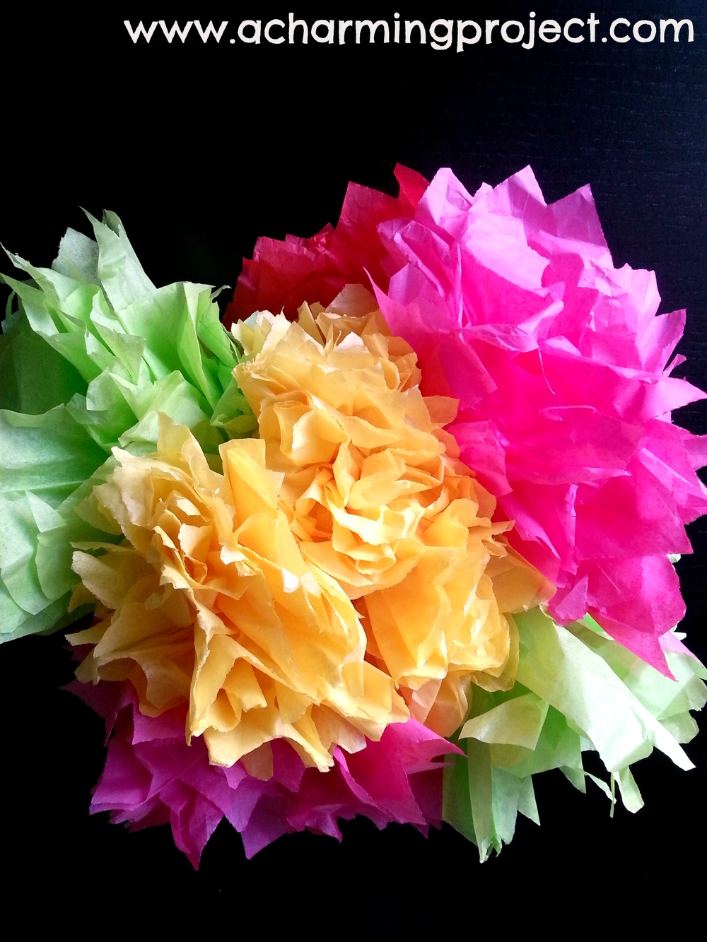 Festive fiesta flowers diy tutorial via www.acharmingproject.com