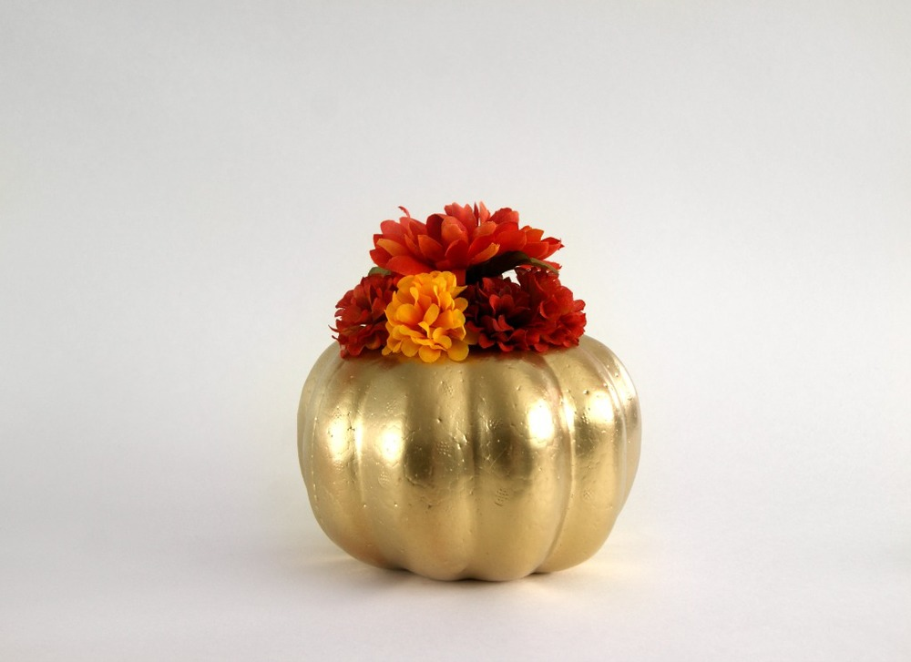 Gilded flower pumpkins for fall a charming project Flower painted pumpkins