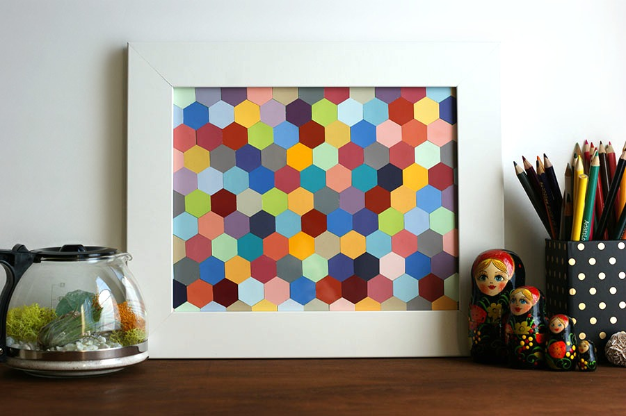 DIY Honeycomb framed art using paint chips
