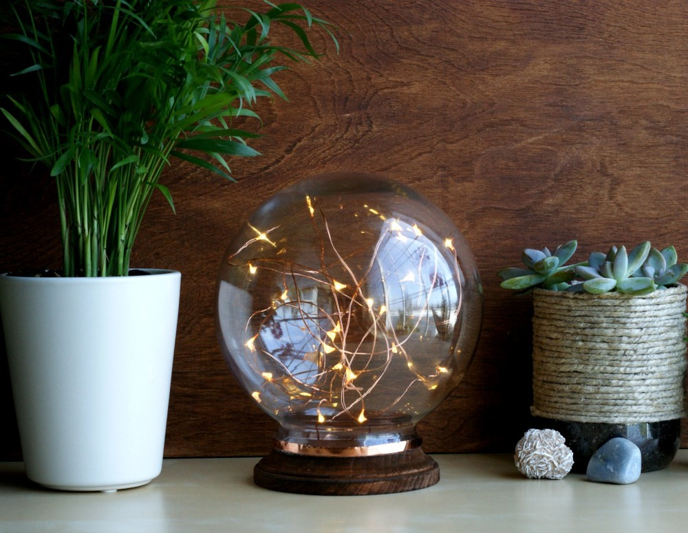 Mid century inspired illuminated copper globe